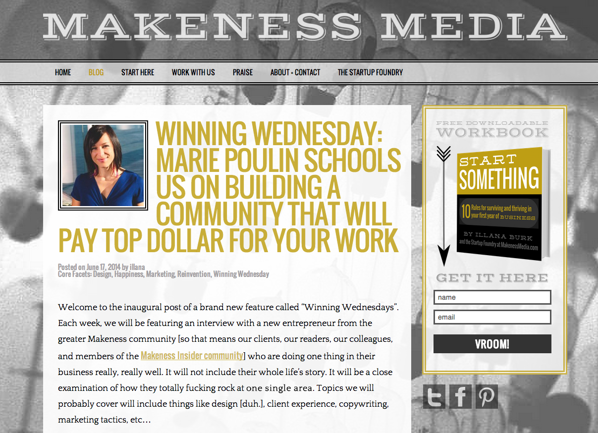 "Featured ""Winning Wednesday"" Interview on Makeness Media"